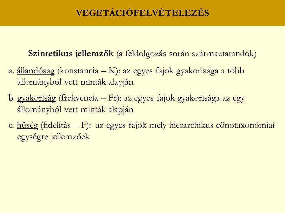 VEGETÁCIÓFELVÉTELEZÉS Szintetikus jellemzők (a feldolgozás során származtatandók) a. állandóság (konstancia – K): az egyes fajok gyakorisága a több ál