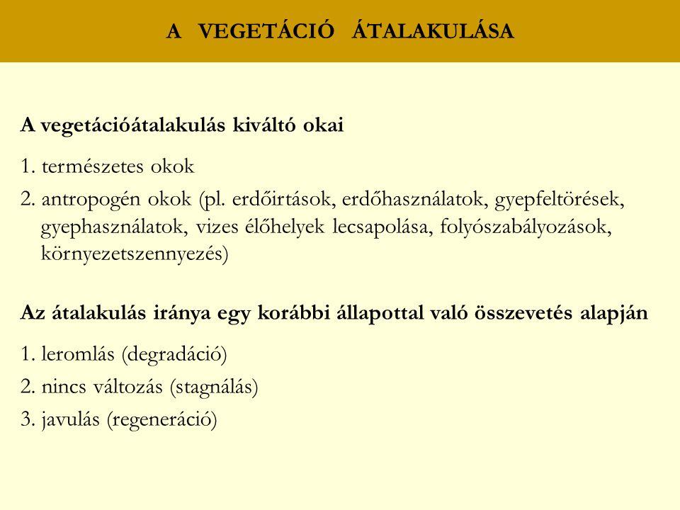 A vegetációátalakulás kiváltó okai 1. természetes okok 2. antropogén okok (pl. erdőirtások, erdőhasználatok, gyepfeltörések, gyephasználatok, vizes él