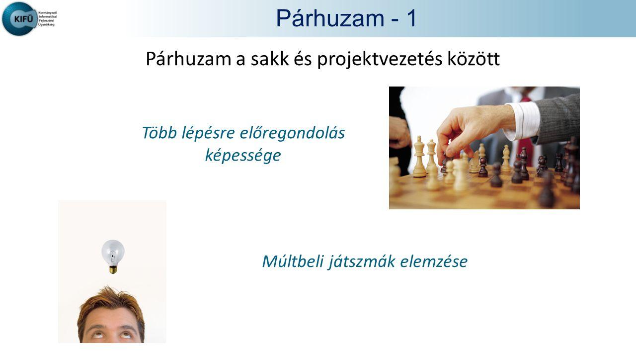 Párhuzam - 1 Párhuzam a sakk és projektvezetés között Több lépésre előregondolás képessége Múltbeli játszmák elemzése