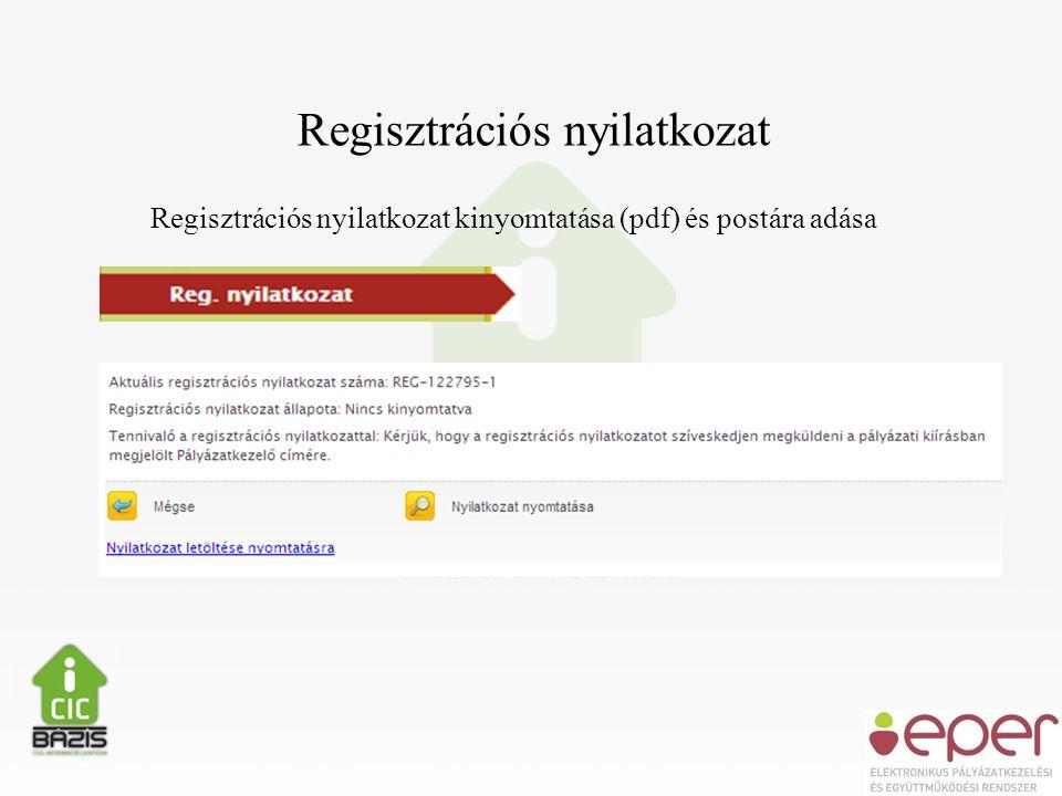 Regisztrációs nyilatkozat Regisztrációs nyilatkozat kinyomtatása (pdf) és postára adása