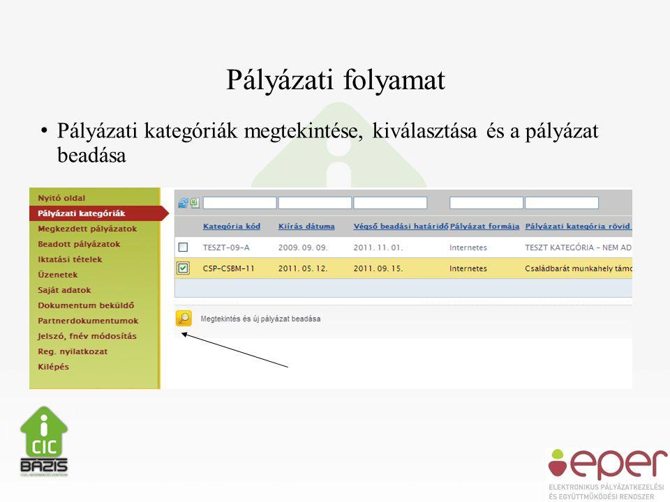 Pályázati folyamat • Pályázati kategóriák megtekintése, kiválasztása és a pályázat beadása