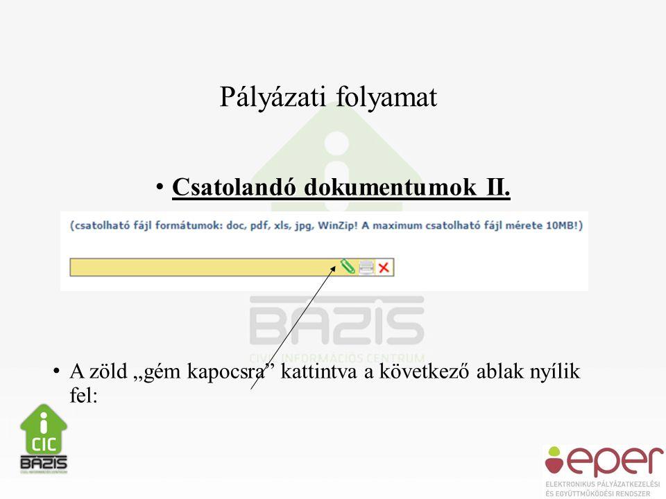 Pályázati folyamat • Csatolandó dokumentumok II.