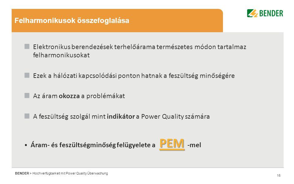 15 BENDER > Hochverfügbarkeit mit Power Quality Überwachung Elektronikus berendezések terhelőárama természetes módon tartalmaz felharmonikusokat Ezek a hálózati kapcsolódási ponton hatnak a feszültség minőségére Az áram okozza a problémákat A feszültség szolgál mint indikátor a Power Quality számára PEM  Áram- és feszültségminőség felügyelete a PEM -mel Felharmonikusok összefoglalása