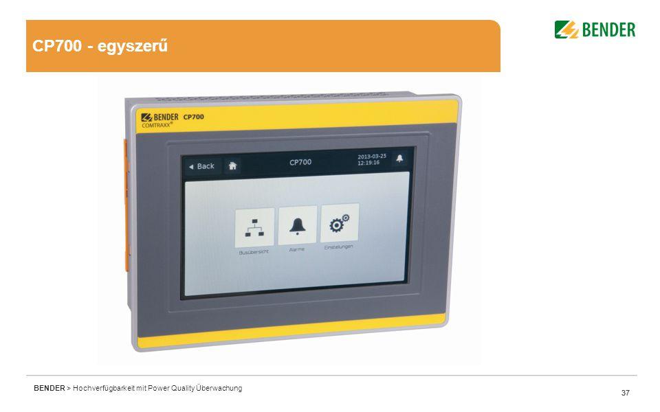 37 BENDER > Hochverfügbarkeit mit Power Quality Überwachung 37 CP700 - egyszerű