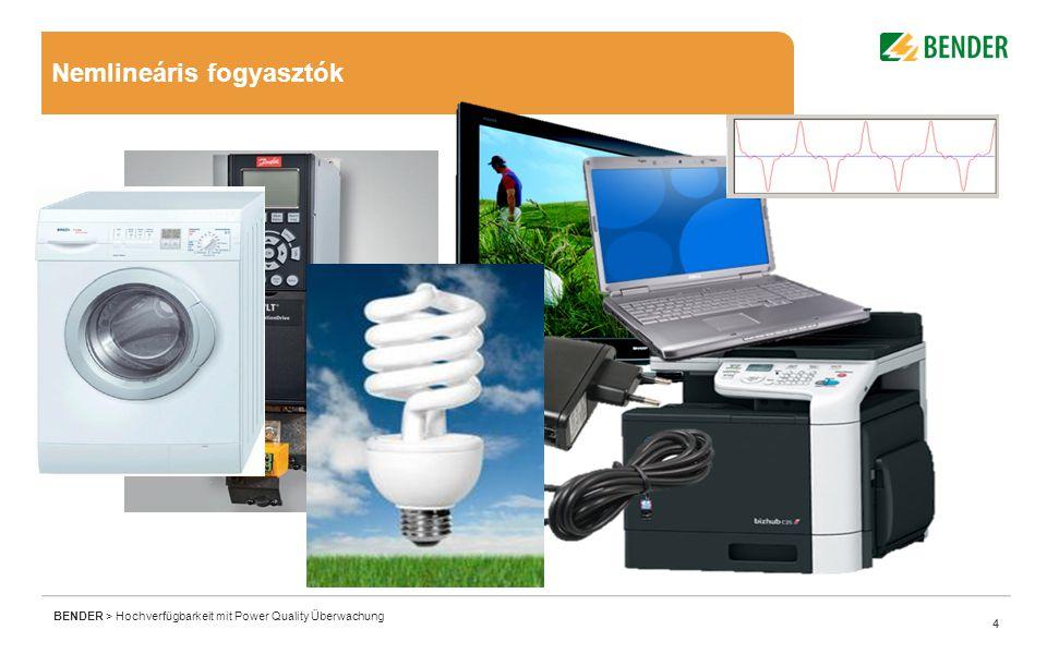 4 BENDER > Hochverfügbarkeit mit Power Quality Überwachung 4 Nemlineáris fogyasztók