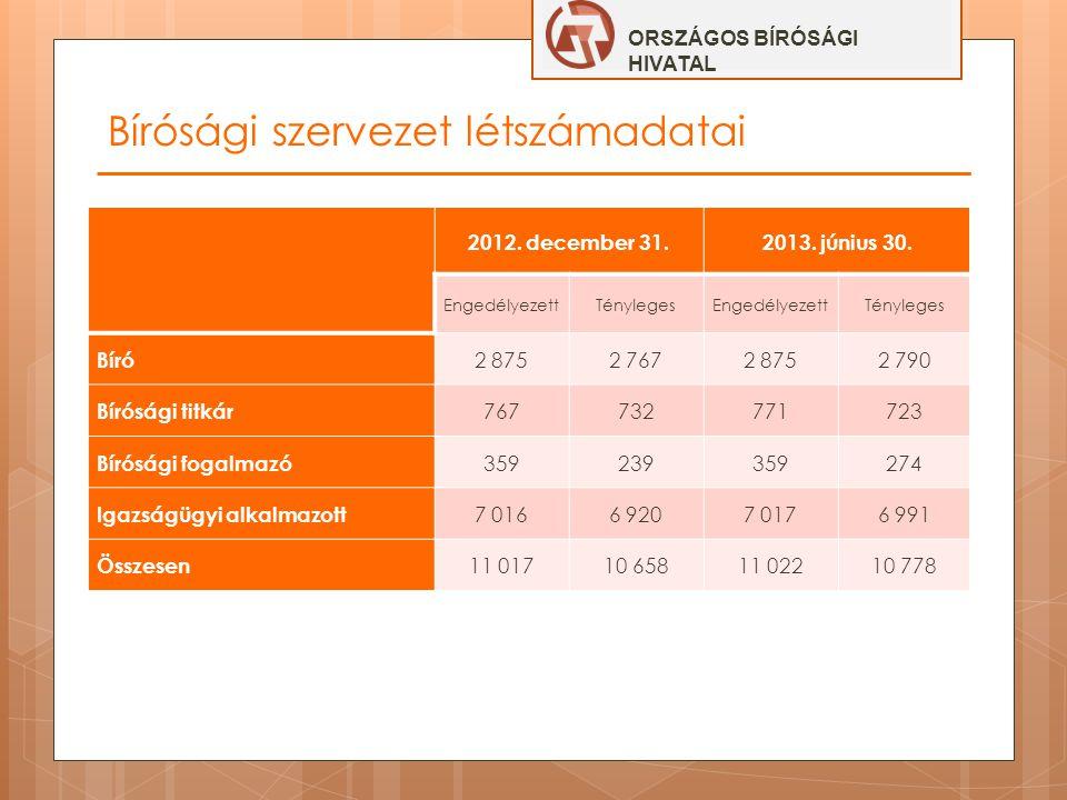 Bírósági szervezet létszámadatai ORSZÁGOS BÍRÓSÁGI HIVATAL 2012. december 31.2013. június 30. EngedélyezettTénylegesEngedélyezettTényleges Bíró 2 8752