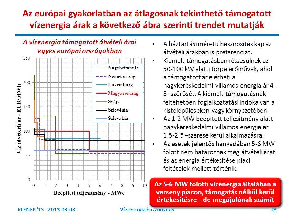 • A háztartási méretű hasznosítás kap az átvételi árakban is preferenciát. • Kiemelt támogatásban részesülnek az 50-100 kW alatti törpe erőművek, ahol