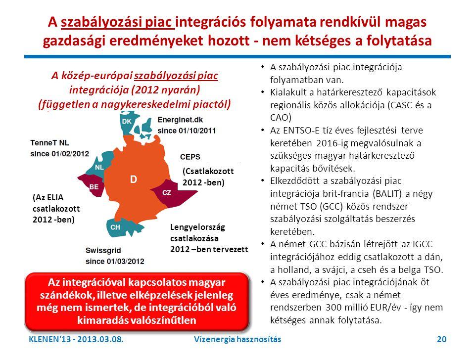 KLENEN'13 - 2013.03.08.20Vízenergia hasznosítás Lengyelország csatlakozása 2012 –ben tervezett A közép-európai szabályozási piac integrációja (2012 ny