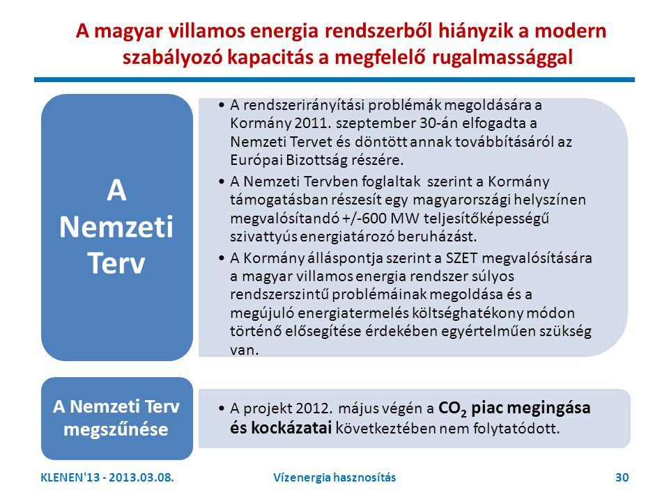 KLENEN'13 - 2013.03.08.30Vízenergia hasznosítás •A rendszerirányítási problémák megoldására a Kormány 2011. szeptember 30-án elfogadta a Nemzeti Terve