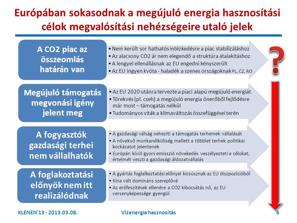 KLENEN 13 - 2013.03.08.17Vízenergia hasznosítás A vízenergia hasznosítása a rendszerben két lényeges funkciója különíthető el Primer megújuló energiaforrás a vízenergia alap funkciója az áramszolgáltatás kezdetétől Megújuló energia szabályozott piac TÁMOGATOTT Villamos energia nagykereskedelmi piac VERSENYPIAC Termelés támogató eszköz a villamos energia szolgáltatás biztonságának támogatása Szabályozási szolgáltatási piac VERSENYPIAC A vízenergia hasznosítás területén az integráció és az egységes piacon való versenyképesség szabja meg a fejlődés irányát (2020-tól versenypiac!) Az EU előirányzat: a megújuló energia értékesítése 2020 után a verseny piaci.