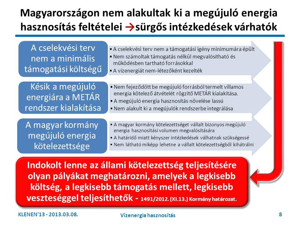 Magyarországon nem alakultak ki a megújuló energia hasznosítás feltételei →sürgős intézkedések várhatók KLENEN'13 - 2013.03.08.8 Vízenergia hasznosítá