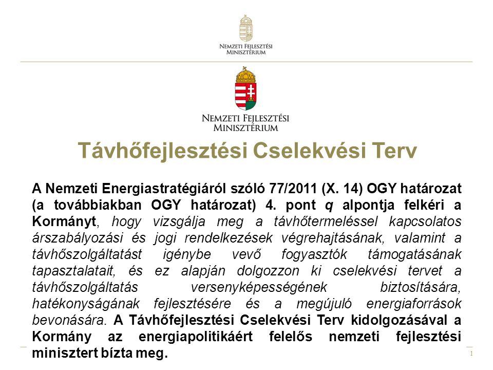 1 Távhőfejlesztési Cselekvési Terv A Nemzeti Energiastratégiáról szóló 77/2011 (X.
