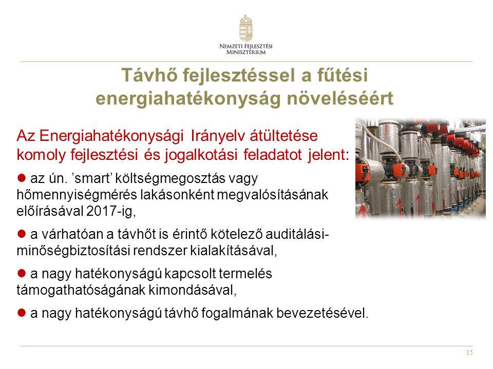 15 Az Energiahatékonysági Irányelv átültetése komoly fejlesztési és jogalkotási feladatot jelent:  az ún.