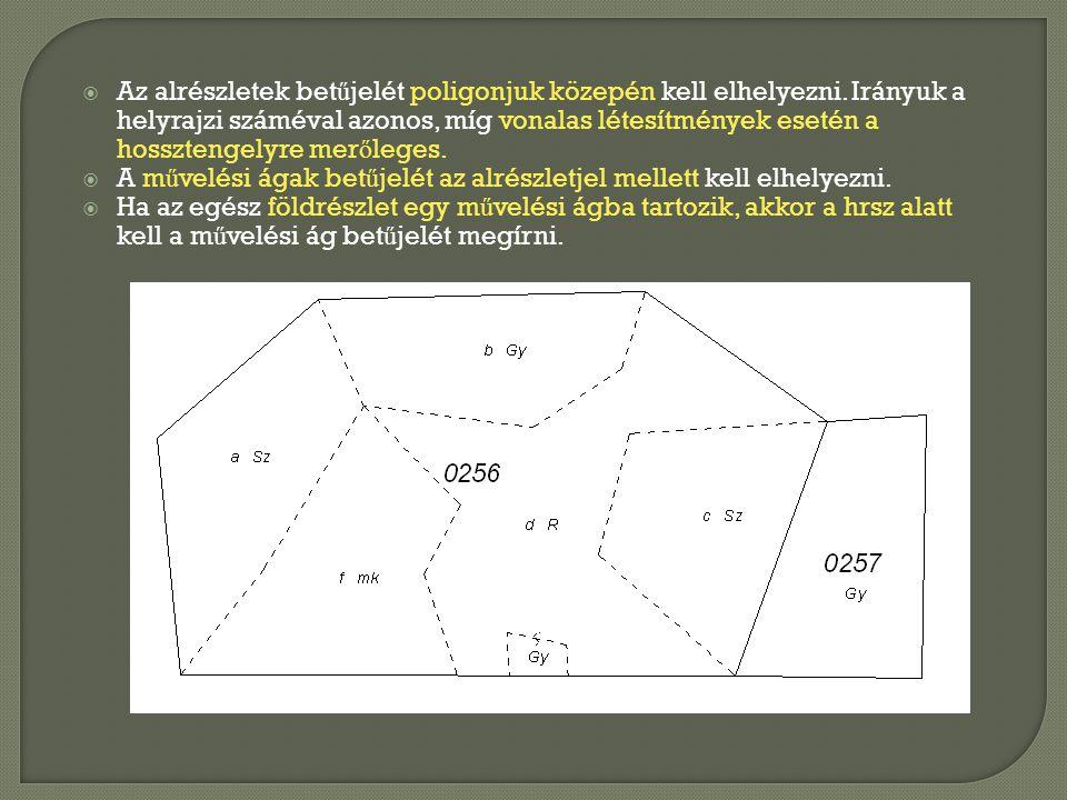  Az alrészletek bet ű jelét poligonjuk közepén kell elhelyezni. Irányuk a helyrajzi száméval azonos, míg vonalas létesítmények esetén a hossztengelyr