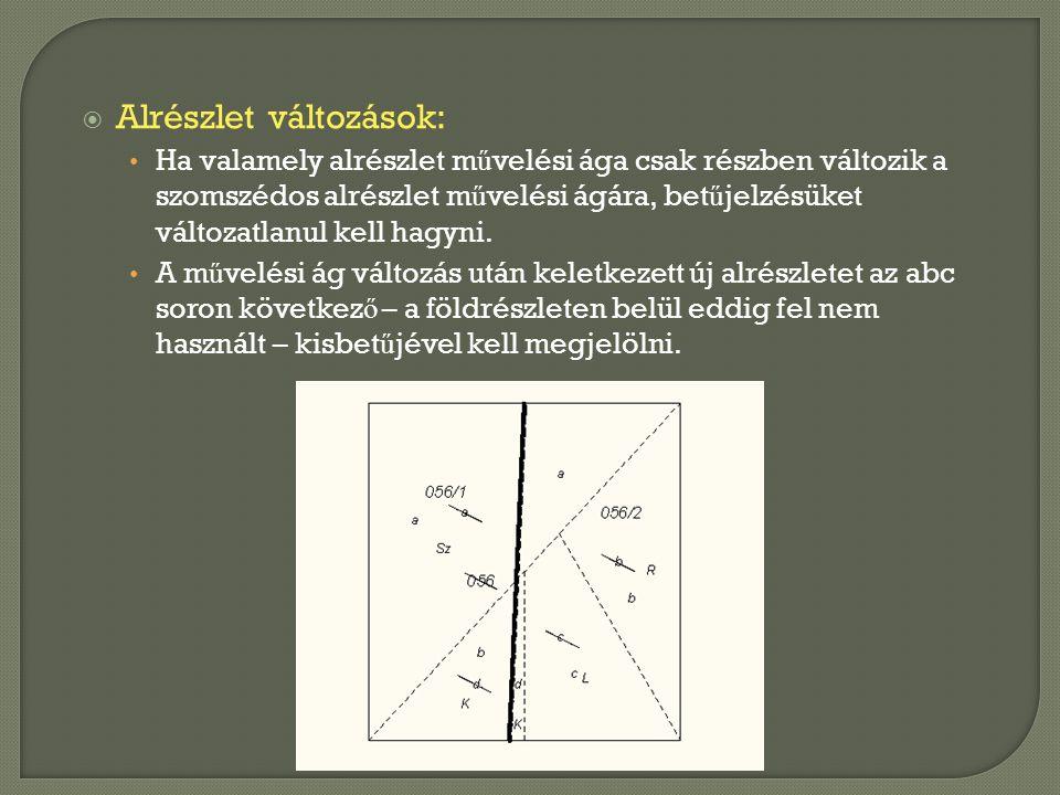  Alrészlet változások: • Ha valamely alrészlet m ű velési ága csak részben változik a szomszédos alrészlet m ű velési ágára, bet ű jelzésüket változa