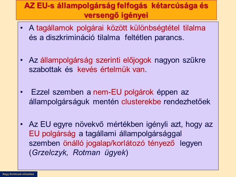 Nagy Boldizsár előadása AZ EU-s állampolgárság felfogás kétarcúsága és versengő igényei •A tagállamok polgárai között különbségtétel tilalma és a diszkrimináció tilalma feltétlen parancs.