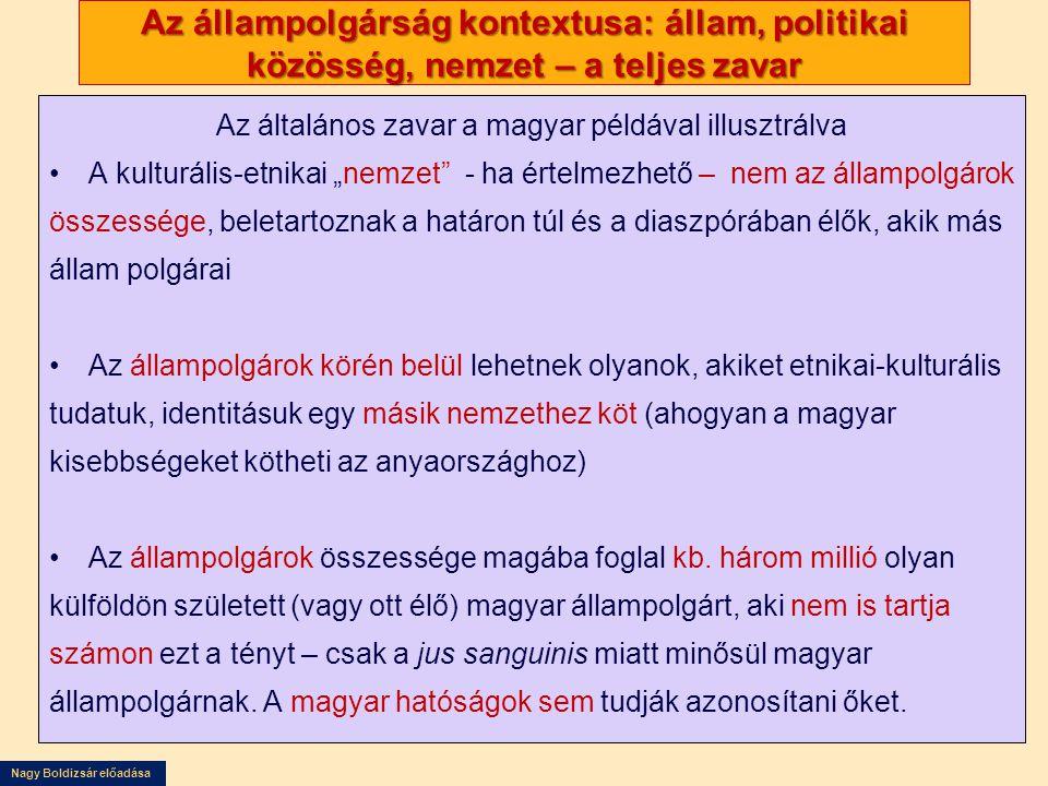 """Nagy Boldizsár előadása Az állampolgárság kontextusa: állam, politikai közösség, nemzet – a teljes zavar Az általános zavar a magyar példával illusztrálva •A kulturális-etnikai """"nemzet - ha értelmezhető – nem az állampolgárok összessége, beletartoznak a határon túl és a diaszpórában élők, akik más állam polgárai •Az állampolgárok körén belül lehetnek olyanok, akiket etnikai-kulturális tudatuk, identitásuk egy másik nemzethez köt (ahogyan a magyar kisebbségeket kötheti az anyaországhoz) •Az állampolgárok összessége magába foglal kb."""