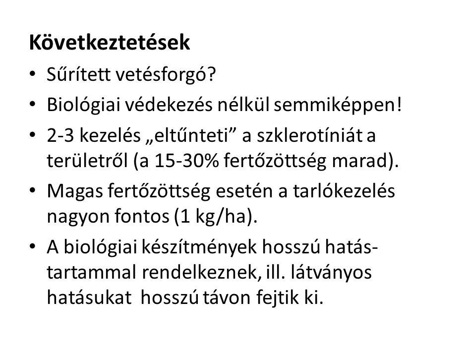 """Következtetések • Sűrített vetésforgó? • Biológiai védekezés nélkül semmiképpen! • 2-3 kezelés """"eltűnteti"""" a szklerotíniát a területről (a 15-30% fert"""