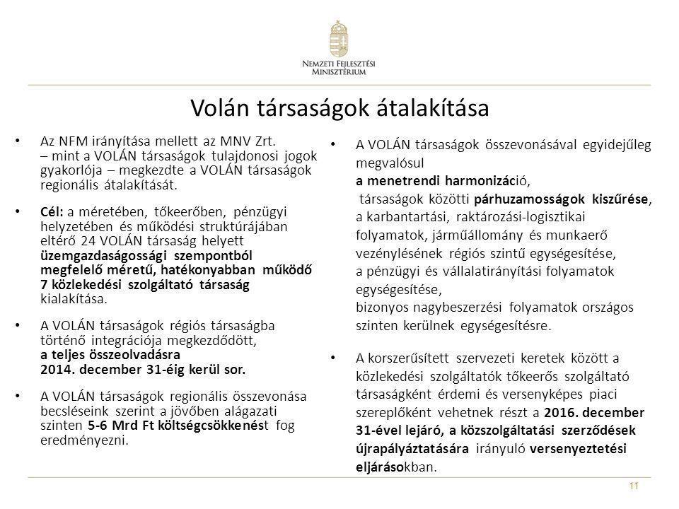 Volán társaságok átalakítása • Az NFM irányítása mellett az MNV Zrt. – mint a VOLÁN társaságok tulajdonosi jogok gyakorlója – megkezdte a VOLÁN társas