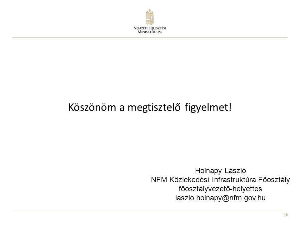 18 Köszönöm a megtisztelő figyelmet! Holnapy László NFM Közlekedési Infrastruktúra Főosztály főosztályvezető-helyettes laszlo.holnapy@nfm.gov.hu
