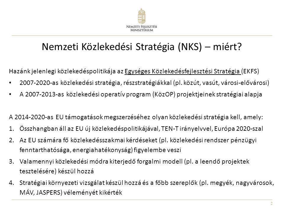 2 Nemzeti Közlekedési Stratégia (NKS) – miért? Hazánk jelenlegi közlekedéspolitikája az Egységes Közlekedésfejlesztési Stratégia (EKFS) • 2007-2020-as