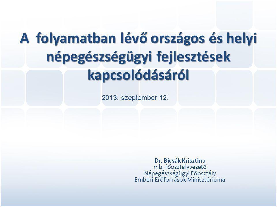A folyamatban lévő országos és helyi népegészségügyi fejlesztések kapcsolódásáról Dr.