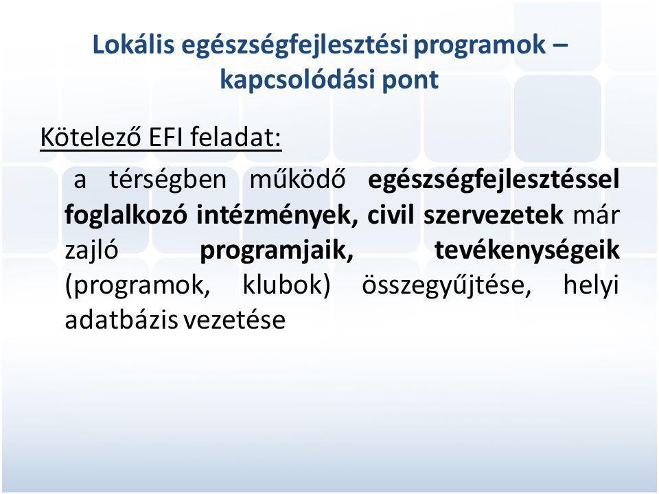 Lokális egészségfejlesztési programok – kapcsolódási pont Kötelező EFI feladat: a térségben működő egészségfejlesztéssel foglalkozó intézmények, civil szervezetek már zajló programjaik, tevékenységeik (programok, klubok) összegyűjtése, helyi adatbázis vezetése