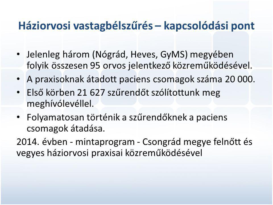 Háziorvosi vastagbélszűrés – kapcsolódási pont • Jelenleg három (Nógrád, Heves, GyMS) megyében folyik összesen 95 orvos jelentkező közreműködésével.