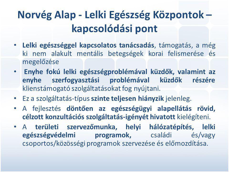 Norvég Alap - Lelki Egészség Központok – kapcsolódási pont • Lelki egészséggel kapcsolatos tanácsadás, támogatás, a még ki nem alakult mentális betegségek korai felismerése és megelőzése • Enyhe fokú lelki egészségproblémával küzdők, valamint az enyhe szerfogyasztási problémával küzdők részére klienstámogató szolgáltatásokat fog nyújtani.