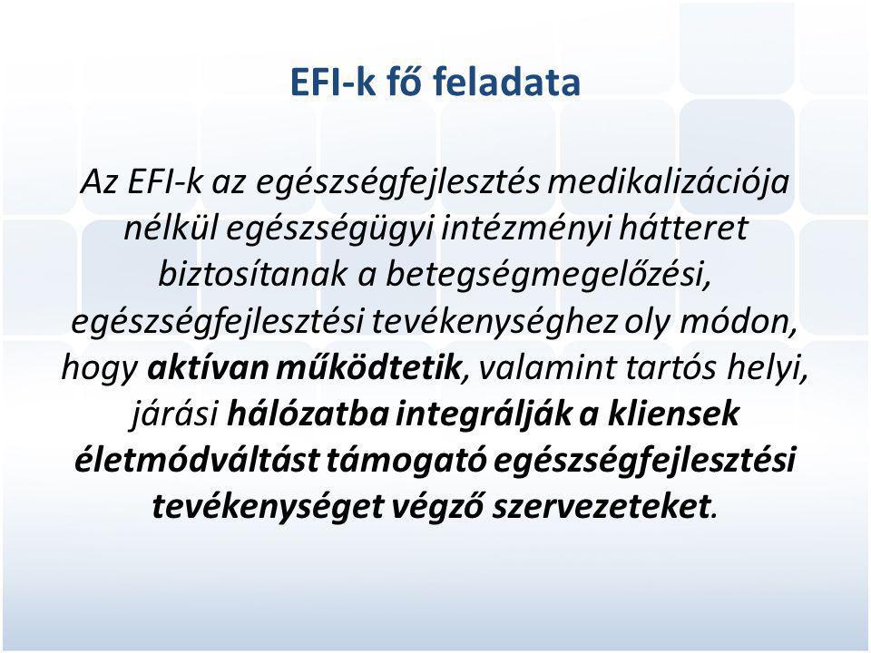 EFI-k fő feladata Az EFI-k az egészségfejlesztés medikalizációja nélkül egészségügyi intézményi hátteret biztosítanak a betegségmegelőzési, egészségfejlesztési tevékenységhez oly módon, hogy aktívan működtetik, valamint tartós helyi, járási hálózatba integrálják a kliensek életmódváltást támogató egészségfejlesztési tevékenységet végző szervezeteket.