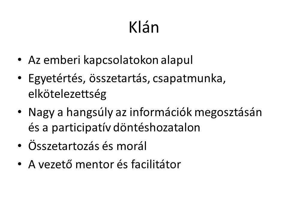 Klán • Az emberi kapcsolatokon alapul • Egyetértés, összetartás, csapatmunka, elkötelezettség • Nagy a hangsúly az információk megosztásán és a partic