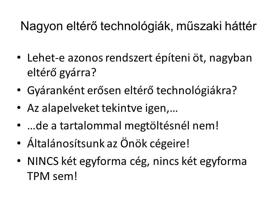 Nagyon eltérő technológiák, műszaki háttér • Lehet-e azonos rendszert építeni öt, nagyban eltérő gyárra? • Gyáranként erősen eltérő technológiákra? •