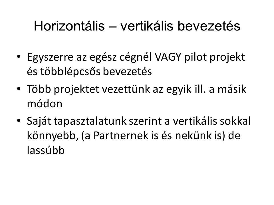 Horizontális – vertikális bevezetés • Egyszerre az egész cégnél VAGY pilot projekt és többlépcsős bevezetés • Több projektet vezettünk az egyik ill. a
