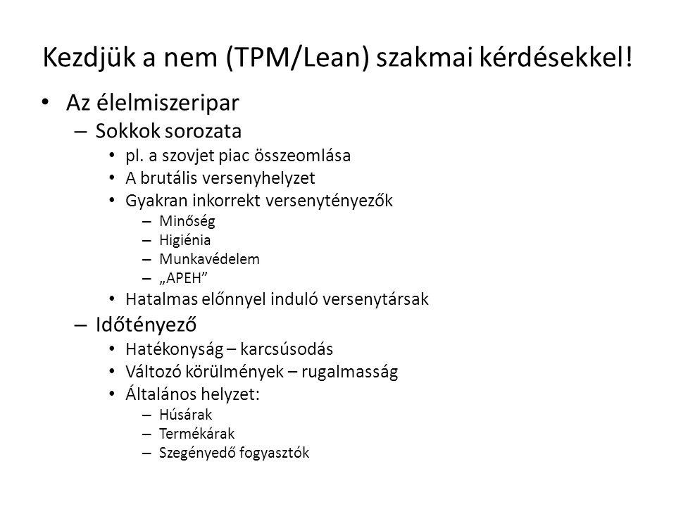 Kezdjük a nem (TPM/Lean) szakmai kérdésekkel! • Az élelmiszeripar – Sokkok sorozata • pl. a szovjet piac összeomlása • A brutális versenyhelyzet • Gya