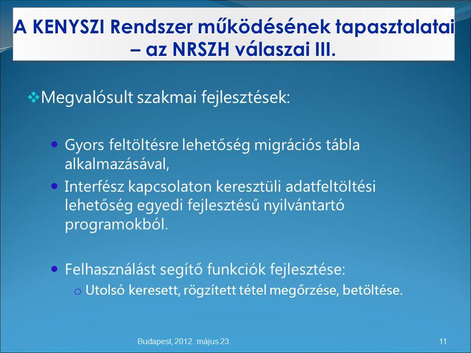 Budapest, 2012.május 23. A KENYSZI Rendszer működésének tapasztalatai – az NRSZH válaszai III.