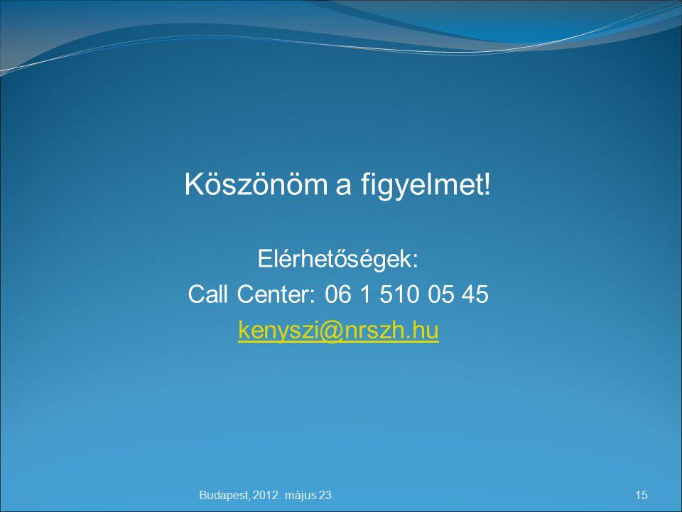 Budapest, 2012.május 23. 15 Köszönöm a figyelmet.