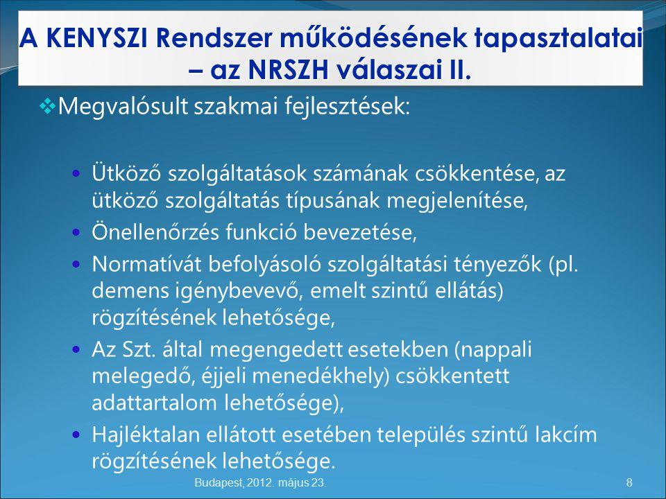 Budapest, 2012.május 23. A KENYSZI Rendszer működésének tapasztalatai – az NRSZH válaszai II.
