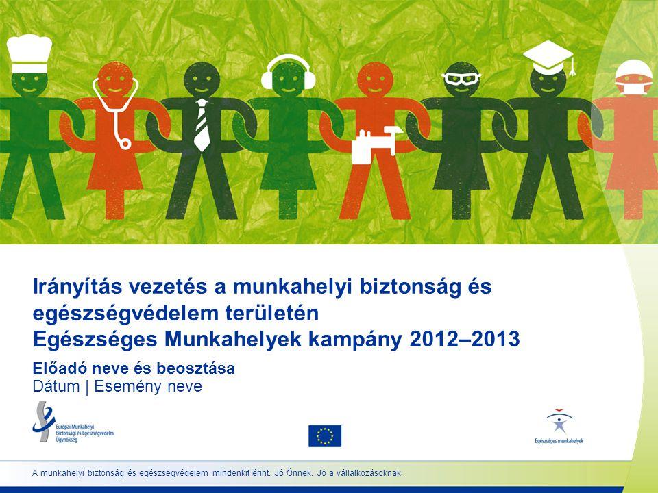 Irányítás vezetés a munkahelyi biztonság és egészségvédelem területén Egészséges Munkahelyek kampány 2012–2013 Előadó neve és beosztása Dátum | Esemény neve A munkahelyi biztonság és egészségvédelem mindenkit érint.