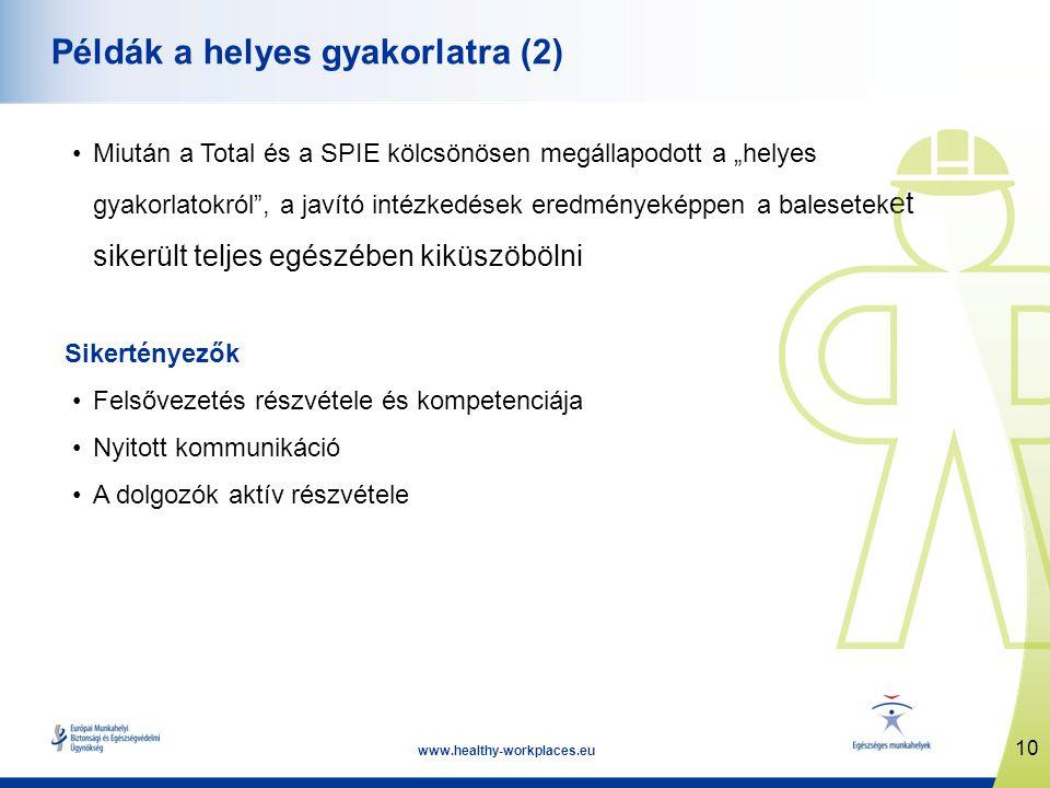 """10 www.healthy-workplaces.eu Példák a helyes gyakorlatra (2) •Miután a Total és a SPIE kölcsönösen megállapodott a """"helyes gyakorlatokról , a javító intézkedések eredményeképpen a balesetek et sikerült teljes egészében kiküszöbölni Sikertényezők •Felsővezetés részvétele és kompetenciája •Nyitott kommunikáció •A dolgozók aktív részvétele"""