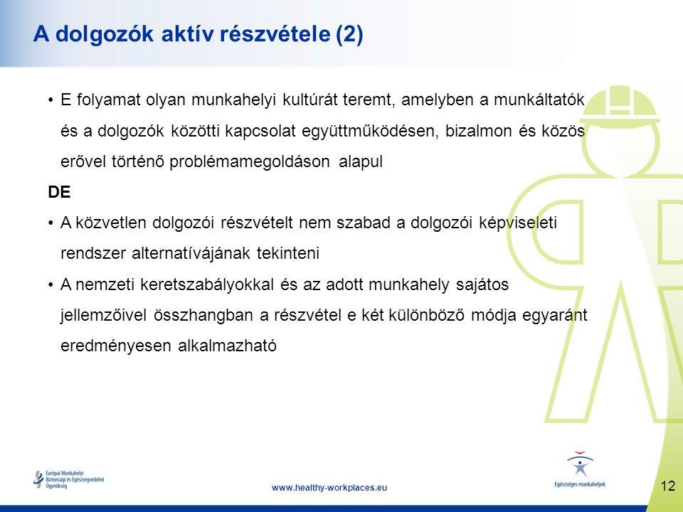 12 www.healthy-workplaces.eu A dolgozók aktív részvétele (2) •E folyamat olyan munkahelyi kultúrát teremt, amelyben a munkáltatók és a dolgozók közötti kapcsolat együttműködésen, bizalmon és közös erővel történő problémamegoldáson alapul DE •A közvetlen dolgozói részvételt nem szabad a dolgozói képviseleti rendszer alternatívájának tekinteni •A nemzeti keretszabályokkal és az adott munkahely sajátos jellemzőivel összhangban a részvétel e két különböző módja egyaránt eredményesen alkalmazható