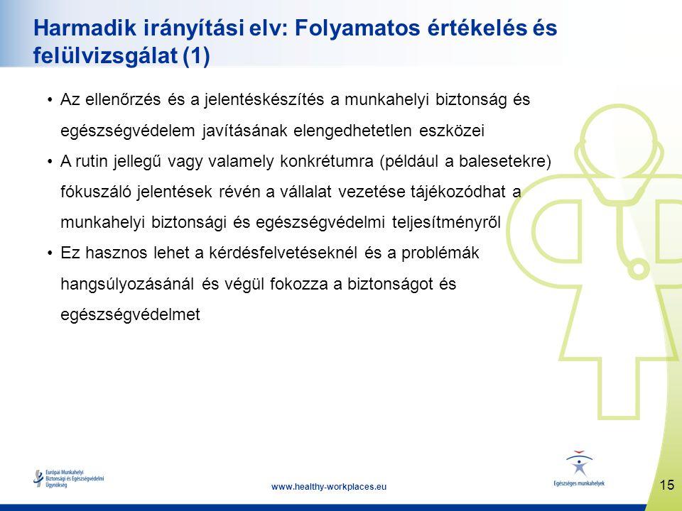 15 www.healthy-workplaces.eu Harmadik irányítási elv: Folyamatos értékelés és felülvizsgálat (1) •Az ellenőrzés és a jelentéskészítés a munkahelyi biztonság és egészségvédelem javításának elengedhetetlen eszközei •A rutin jellegű vagy valamely konkrétumra (például a balesetekre) fókuszáló jelentések révén a vállalat vezetése tájékozódhat a munkahelyi biztonsági és egészségvédelmi teljesítményről •Ez hasznos lehet a kérdésfelvetéseknél és a problémák hangsúlyozásánál és végül fokozza a biztonságot és egészségvédelmet