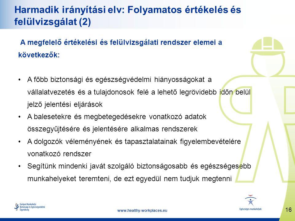 16 www.healthy-workplaces.eu Harmadik irányítási elv: Folyamatos értékelés és felülvizsgálat (2) A megfelelő értékelési és felülvizsgálati rendszer el