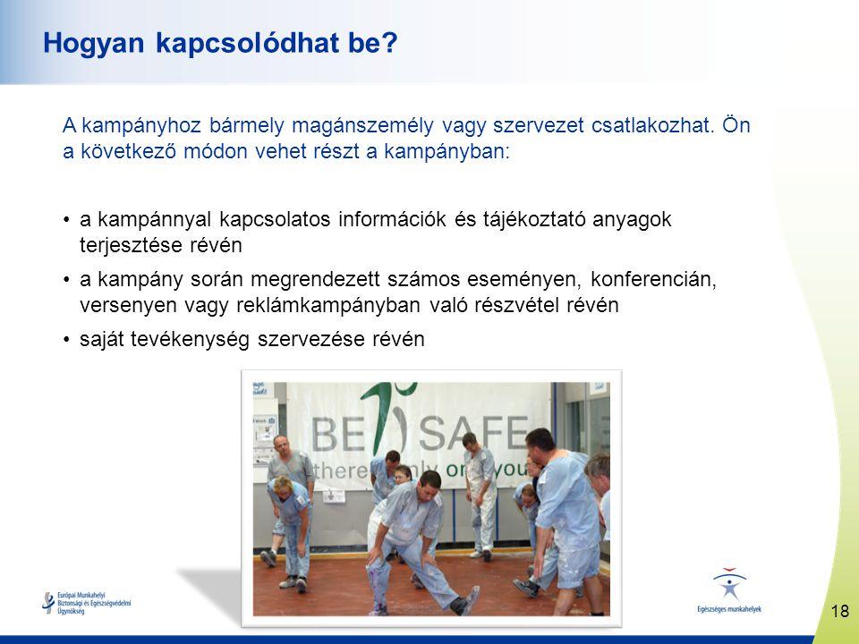 www.healthy-workplaces.eu A kampányhoz bármely magánszemély vagy szervezet csatlakozhat. Ön a következő módon vehet részt a kampányban: •a kampánnyal