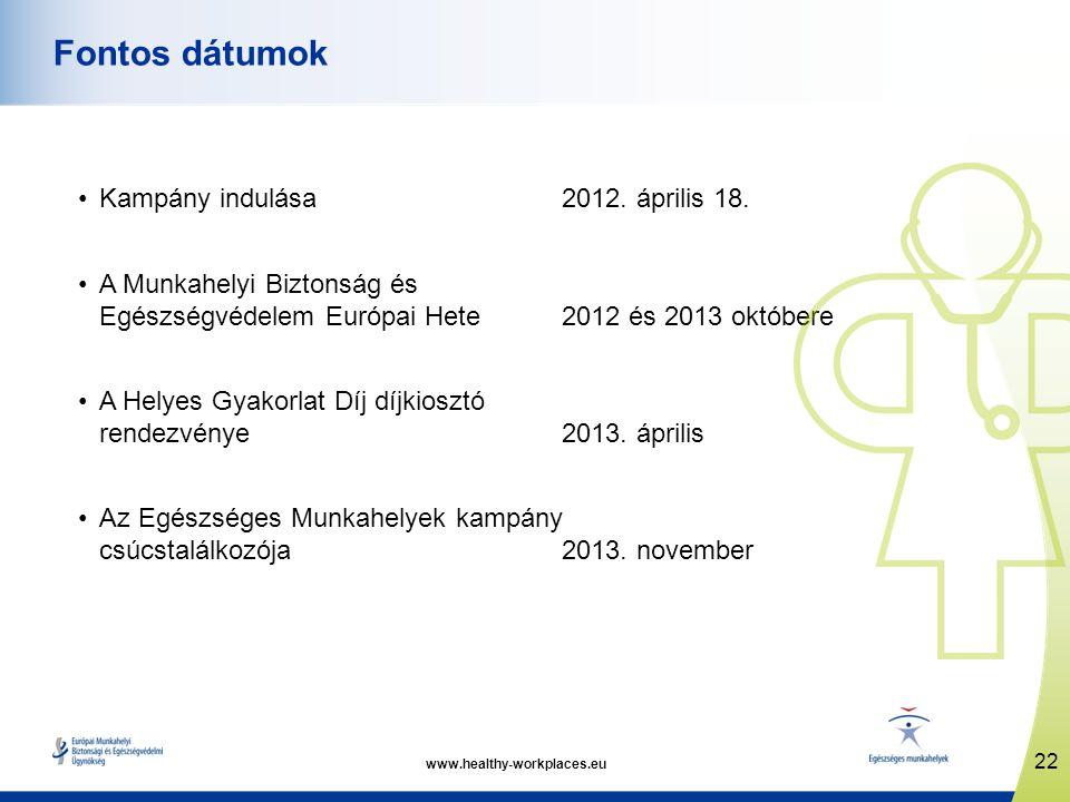 www.healthy-workplaces.eu •Kampány indulása 2012. április 18. •A Munkahelyi Biztonság és Egészségvédelem Európai Hete2012 és 2013 októbere •A Helyes G
