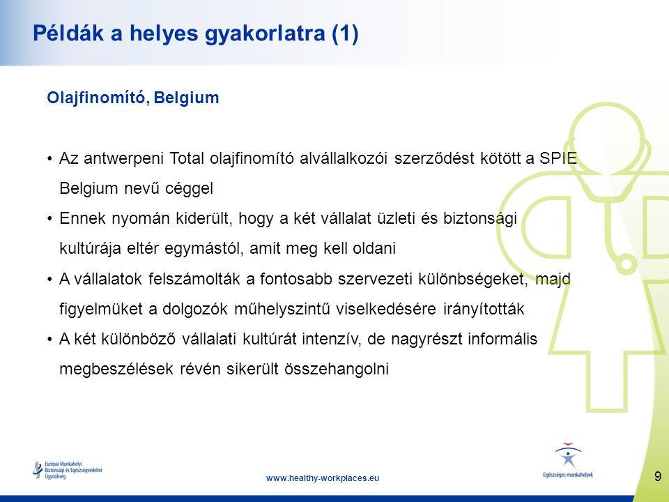 9 www.healthy-workplaces.eu Példák a helyes gyakorlatra (1) Olajfinomító, Belgium •Az antwerpeni Total olajfinomító alvállalkozói szerződést kötött a