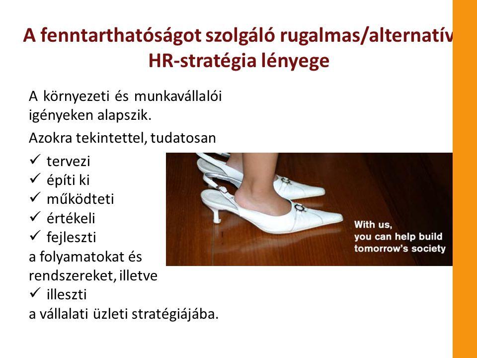A fenntarthatóságot szolgáló rugalmas/alternatív HR-stratégia lényege A környezeti és munkavállalói igényeken alapszik. Azokra tekintettel, tudatosan