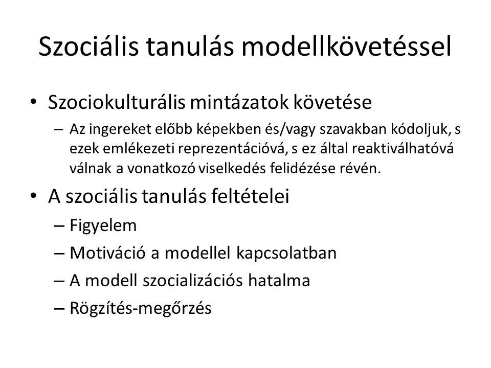 Szociális tanulás modellkövetéssel • Szociokulturális mintázatok követése – Az ingereket előbb képekben és/vagy szavakban kódoljuk, s ezek emlékezeti