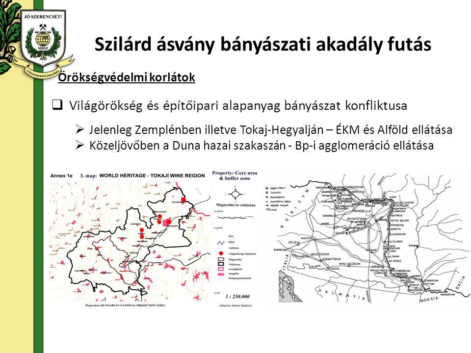 Örökségvédelmi korlátok Szilárd ásvány bányászati akadály futás  Világörökség és építőipari alapanyag bányászat konfliktusa  Jelenleg Zemplénben illetve Tokaj-Hegyalján – ÉKM és Alföld ellátása  Közeljövőben a Duna hazai szakaszán - Bp-i agglomeráció ellátása