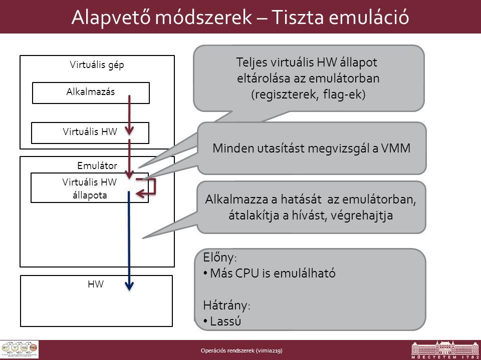 Operációs rendszerek (vimia219) Alapvető módszerek – Tiszta emuláció HW Emulátor Virtuális gép Virtuális HW Alkalmazás Virtuális HW állapota Előny: • Más CPU is emulálható Hátrány: • Lassú Teljes virtuális HW állapot eltárolása az emulátorban (regiszterek, flag-ek) Minden utasítást megvizsgál a VMM Alkalmazza a hatását az emulátorban, átalakítja a hívást, végrehajtja