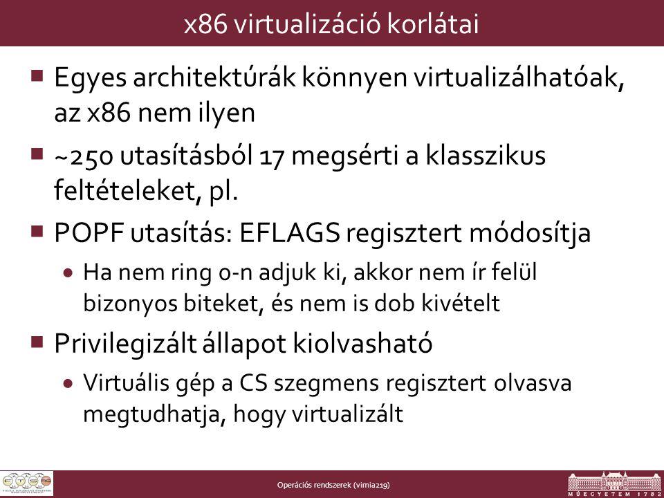 Operációs rendszerek (vimia219) x86 virtualizáció korlátai  Egyes architektúrák könnyen virtualizálhatóak, az x86 nem ilyen  ~250 utasításból 17 megsérti a klasszikus feltételeket, pl.